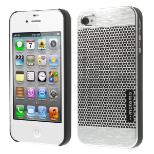 MOTOMO for iPhone 4s 4 Polka Dots Brushed Metal Skin Hard Cover - Silver