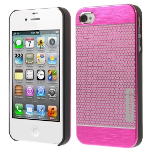 MOTOMO for iPhone 4s 4 Polka Dots Brushed Metal Skin Hard Shell - Rose