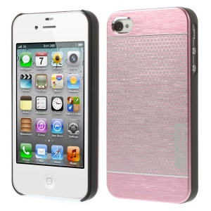 MOTOMO for iPhone 4s 4 Polka Dots Brushed Metal Skin Hard Back Case - Pink