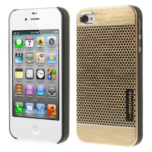 MOTOMO for iPhone 4s 4 Polka Dots Brushed Metal Skin Hard Back Cover - Gold