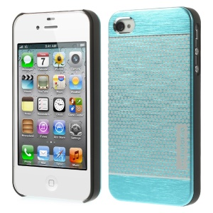MOTOMO for iPhone 4s 4 Polka Dots Brushed Metal Skin Hard Back Shell - Blue