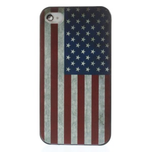 Retro USA National Flag Rubberized Plastic Hard Case for iPhone 4s 4