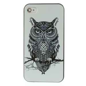 Owl on Branch Hard Plastic Phone Case for iPhone 4s 4