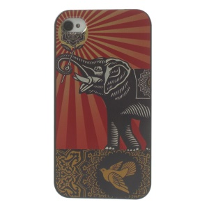 Pigeon & Holding Flower Elephant Hard Plastic Case for iPhone 4s 4