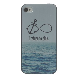 For iPhone 4s 4 Plastic Hard Back Cover Shell - I refuse to sink