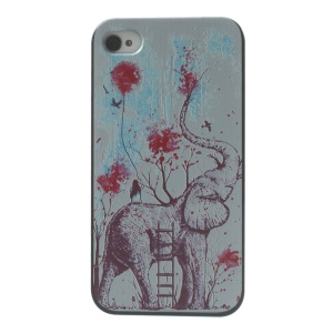 For iPhone 4s 4 Plastic Hard Back Shell - Elephant & Ladder