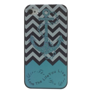 Anchor & Chevron Stripes Plastic Hard Back Cover for iPhone 4s 4