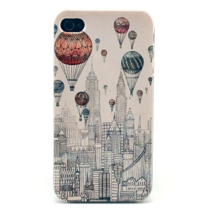Hot Balloons & Buildings Plastic Back Cover for iPhone 4s 4