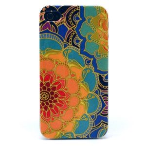 Flower Pattern Plastic Back Cover Shell for iPhone 4s 4