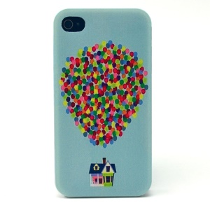 Colorful Dots & House Plastic Protective Case for iPhone 4s 4