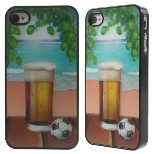 Vivid 3D Effect Beer and Football Plastic Hard Case for iPhone 4 4s