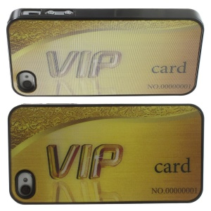 Cool 3D Effect Gold VIP Card PC Hard Cover for iPhone 4 4s