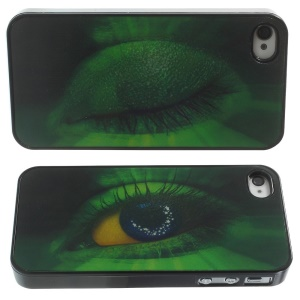 Dynamic 3D Effect Green Animal Eye Hard Back Case for iPhone 4 4s