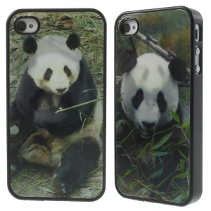 Dynamic 3D Effect Panda Eats Bamboo PC Hard Shell for iPhone 4 4s