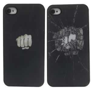 Dynamic 3D Effect Break the Glass with One Punch PC Hard Case for iPhone 4 4s