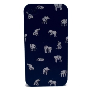 For iPhone 4s 4 Plastic Back Case - White Elephants