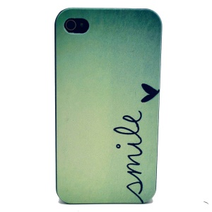For iPhone 4s 4 Plastic Back Cover - Smile Love Heart