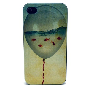 For iPhone 4s 4 Plastic Back Cover - Balloon & Goldfish