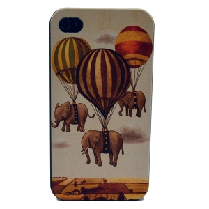 For iPhone 4s 4 Plastic Case Shell - Parachute & Elephant