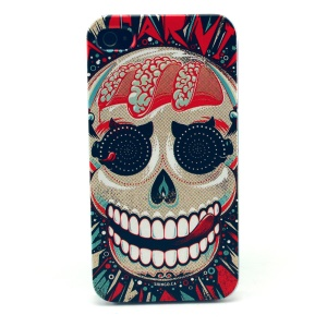 For iPhone 4s 4 Plastic Cover Shell - Scary Skull Pattern