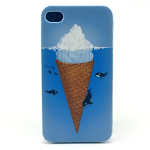 For iPhone 4s 4 Plastic Cover Shell - Icecream Pattern