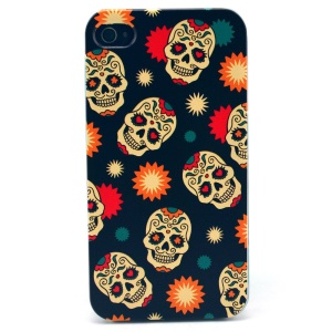 For iPhone 4s 4 Plastic Hard Case - Sugar Skull Pattern