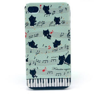 For iPhone 4s 4 Plastic Hard Cover - Cat & Piano