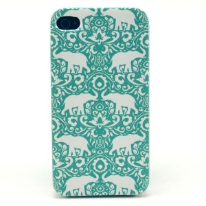For iPhone 4s 4 Plastic Hard Cover - Elephants Pattern