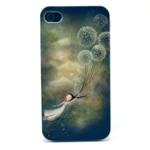 For iPhone 4s 4 Plastic Hard Back Case - Girl Holding Dandelion