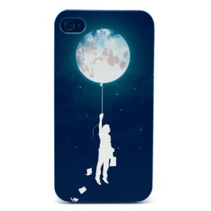 For iPhone 4s 4 Plastic Hard Case Shell - Man Holding Balloon