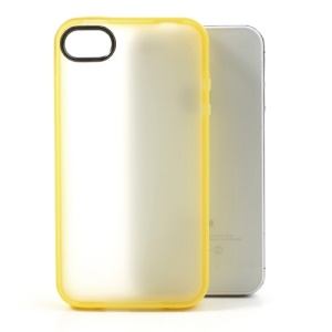 For iPhone 4 4S Matte Translucent Back TPU Jelly Cover - Yellow Edge