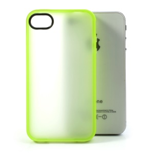 For iPhone 4 4S Matte Translucent Back TPU Gel Shell - Yellowgreen Edge