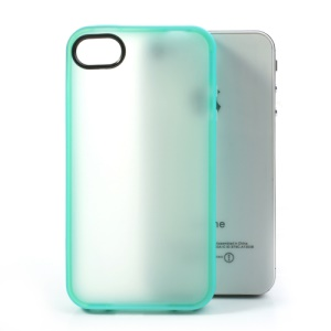 For iPhone 4 4S Matte Translucent Back TPU Gel Shell - Cyan Edge