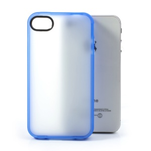 Matte Translucent Back TPU Cover for iPhone 4 4S - Blue Edge