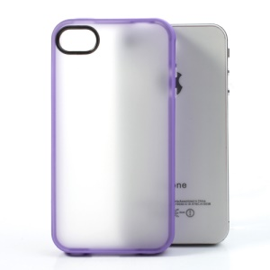 Matte Translucent Back Protective TPU Skin Cover for iPhone 4 4S - Purple Edge