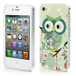 Green Cute Owl Glossy IMD TPU Case for iPhone 4 4S