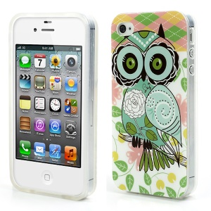 Cute Flower Owl Glossy IMD TPU Cover for iPhone 4 4S