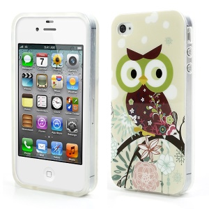 Rose Cute Owl Glossy IMD TPU Gel Case for iPhone 4 4S