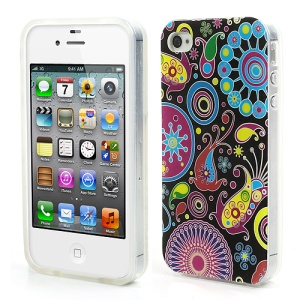 Colorful Patterns for iPhone 4 4S Glossy IMD TPU Back Case