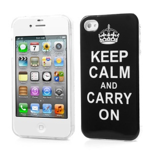 For iPhone 4 4S Glossy TPU Gel Case Keep Calm and Carry On Poster Design