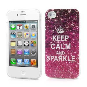For iPhone 4 4S Sleek TPU Back Cover Keep Calm and Sparkle Pattern
