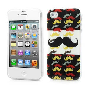 Stylish Multi-mustache TPU Gel Case for iPhone 4 4S