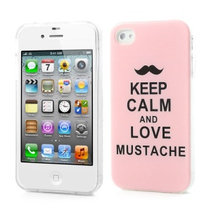 Keep Calm and Love Mustache Pink TPU Gel Case for iPhone 4 4S
