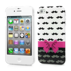 Bowknot & Mustache Pattern IMD TPU Jelly Case for iPhone 4 4S