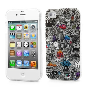 For iPhone 4 4S Protective TPU Skin Cover Multiple Lovely Elements Design