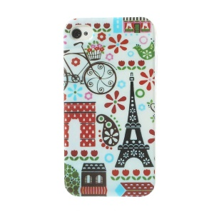 Eiffel Tower & House Pattern for iPhone 4 4S TPU Case Accessory