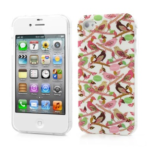 Birds on Branches Design Glossy TPU Shell for iPhone 4 4S