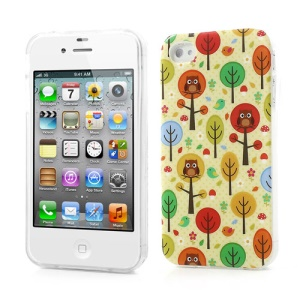 Cartoon Trees & Owls TPU Shielded Case for iPhone 4 4S