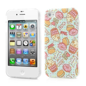 For iPhone 4 4S Glossy TPU Case Cartoon Donut & Rose Hips Pattern
