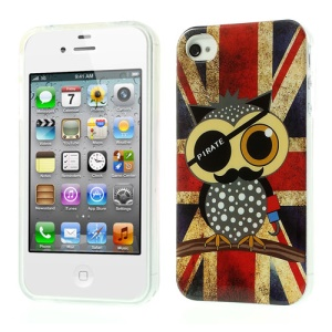 Union Jack Flag Owl Glossy TPU Gel Case for iPhone 4 4s